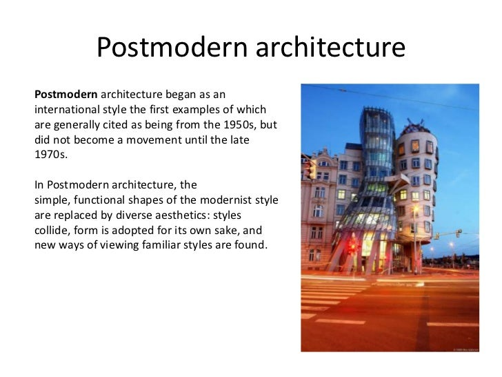 Modern architecture for Modern and postmodern design of building