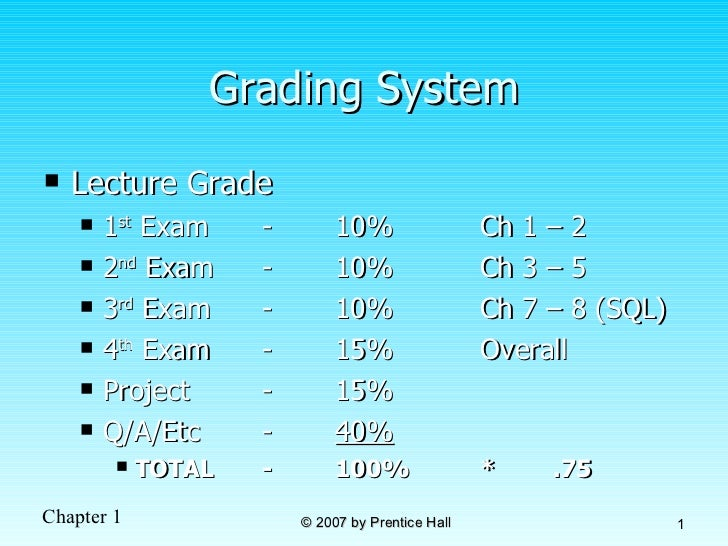 Grading System <ul><li>Lecture Grade </li></ul><ul><ul><li>1 st  Exam - 10% Ch 1 – 2  </li></ul></ul><ul><ul><li>2 nd  Exa...