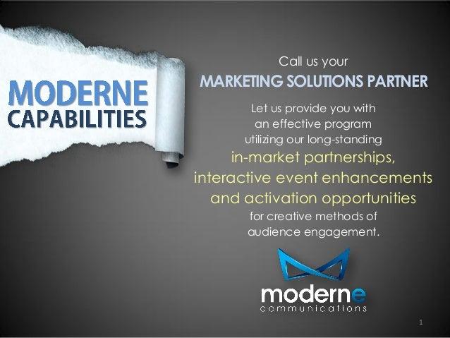 Moderne Communications Capabilities 2014