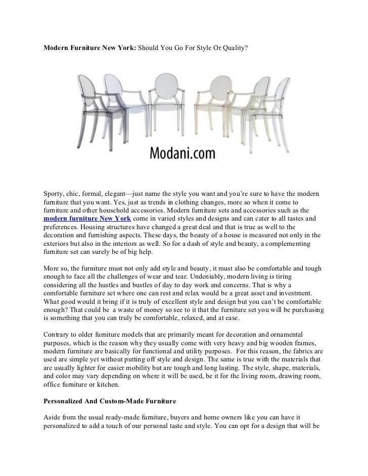Modern Furniture New York: Should You Go For Style Or Quality?
