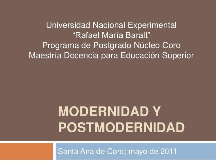 """Universidad Nacional Experimental           """"Rafael María Baralt""""  Programa de Postgrado Núcleo CoroMaestría Docencia para..."""