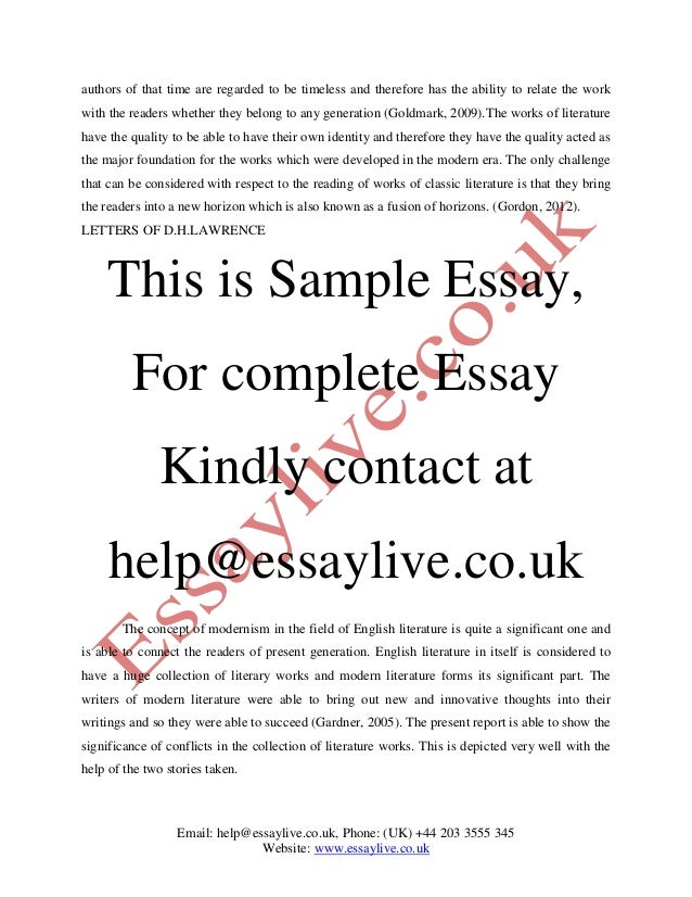 Modernism in literature essay
