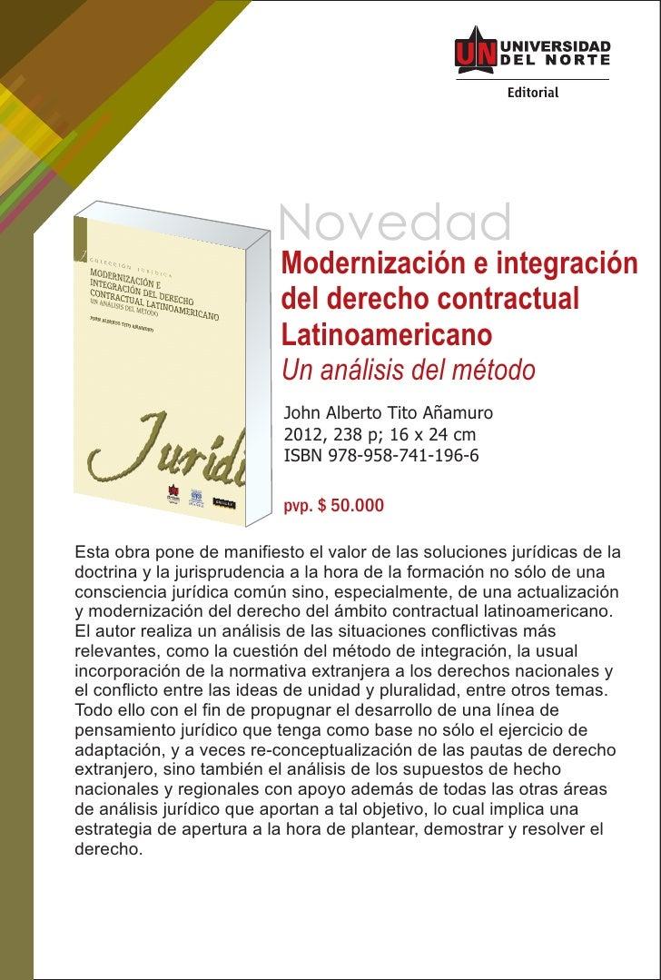 Novedad                          Modernización e integración                          del derecho contractual             ...