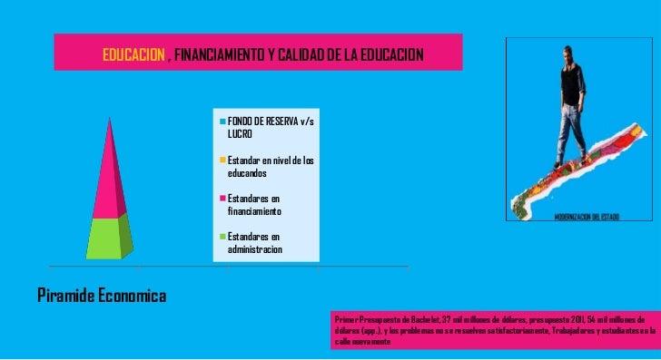 Modernizacion del estado, educacion, calidad y financiamiento
