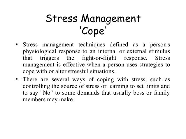 essay on managing stress Stress is a complex phenomenon and the term was first used by medical researcher selye (1984) to describe body's biological response mechanisms selye defined stress as the non-specific response of the body to any demand.