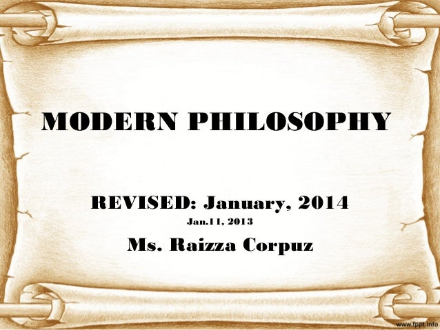 2014 Revised Modern philosophy