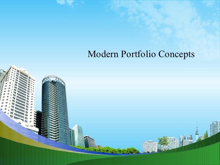 Modern Portfolio Concepts