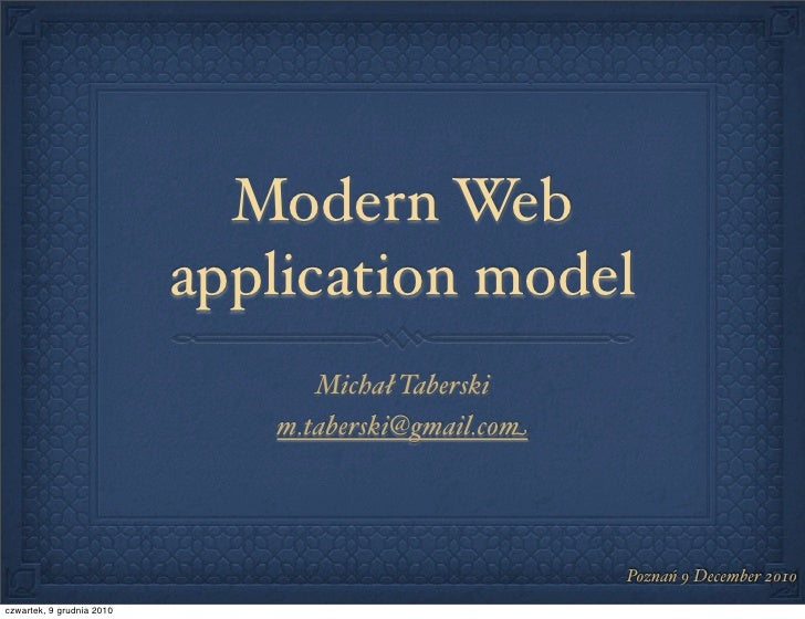 Modern web application model