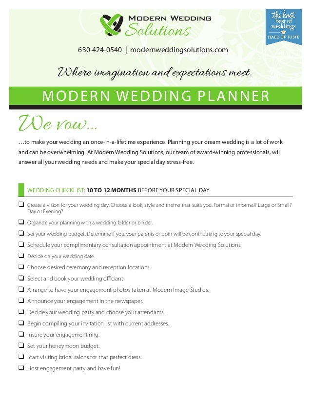 630-424-0540   modernweddingsolutions.com  Where imagination and expectations meet.  MODERN WEDDING PLANNER  We vow…  …to ...