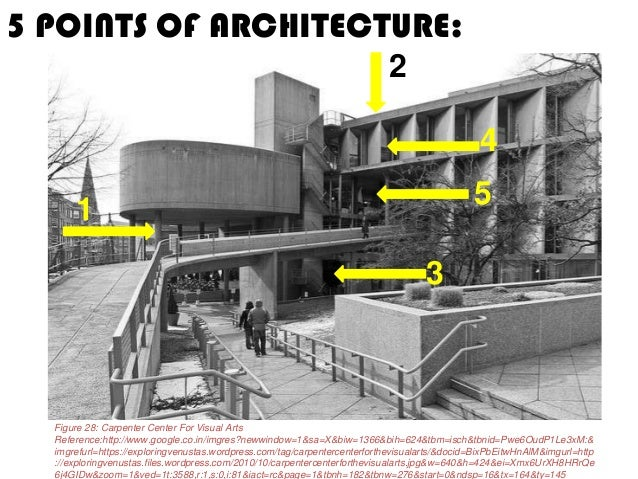 Modern works of le corbusier and 5 poits of architecture for 5 points corbusier