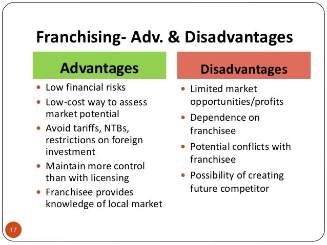 advantages and disadvantages of subway franchising in china