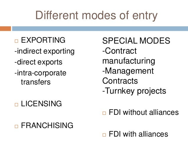 international business entry modes Market entry strategies refer to a company's goals, plans and decisions in regard to which market to enter, when to enter, and how to enter (taking into account opportunities, threats, and customer.