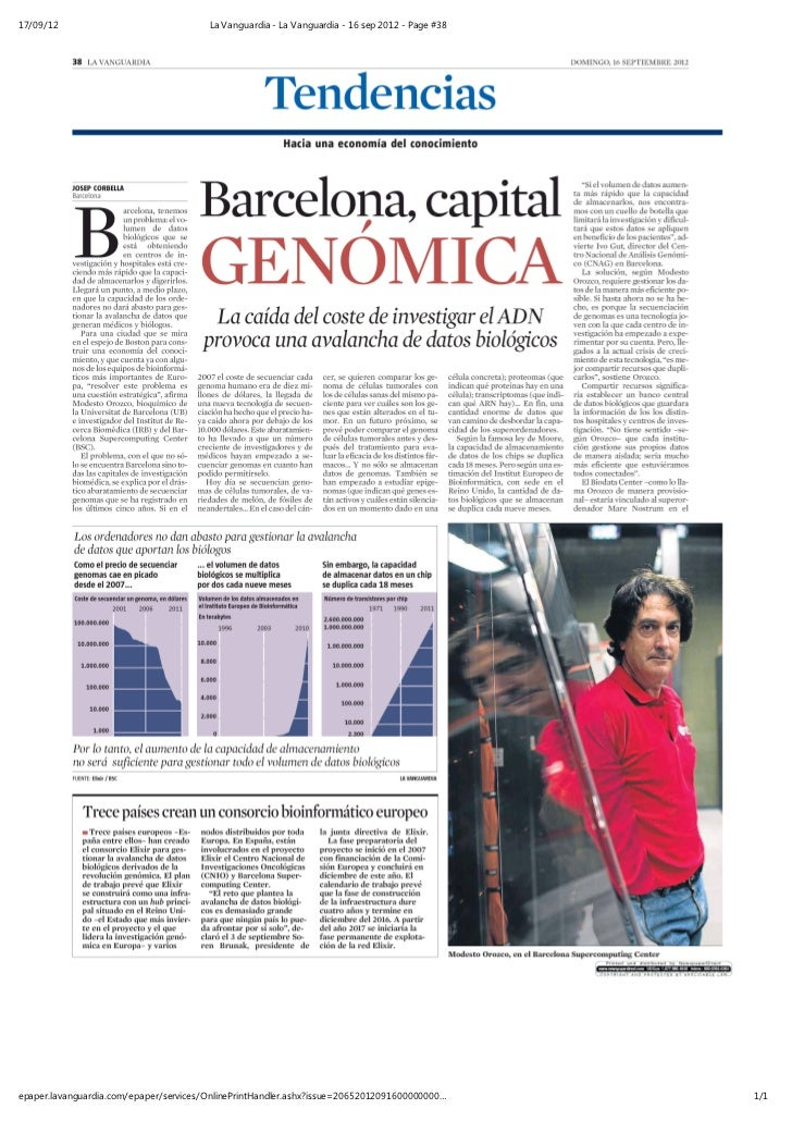 Dr. Modesto Orozco - Barcelona, capital genómica (La Vanguardia, 16 09 2012)