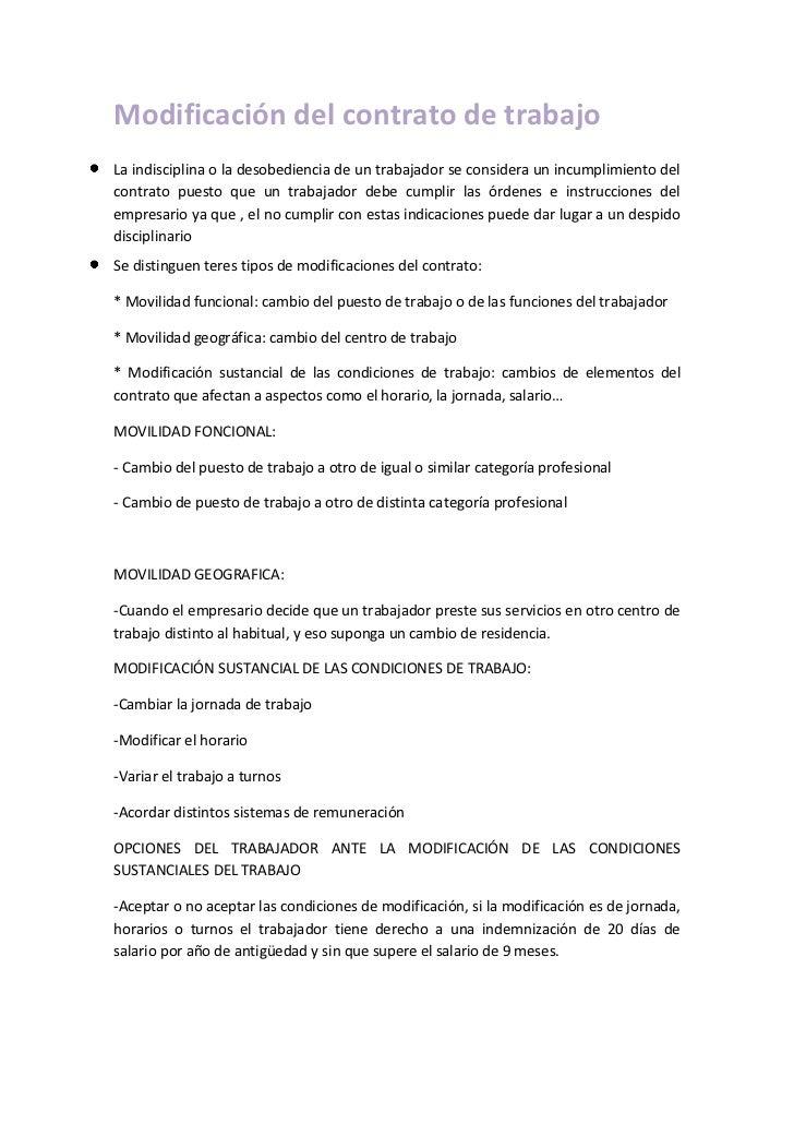 Modificación del contrato de trabajo<br />La indisciplina o la desobediencia de un trabajador se considera un incumplimien...