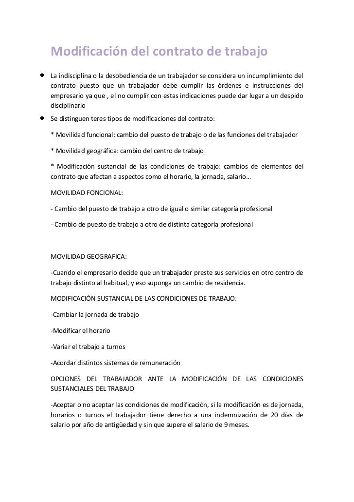 Modificación del contrato de trabajo