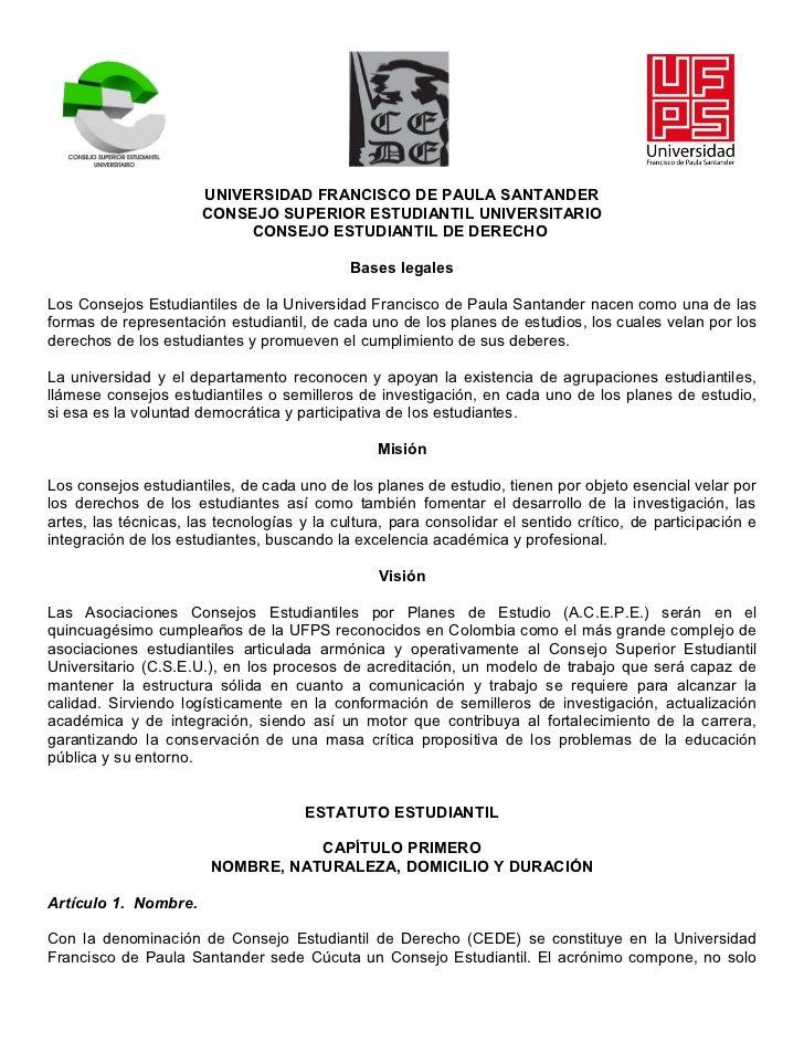 UNIVERSIDAD FRANCISCO DE PAULA SANTANDER                      CONSEJO SUPERIOR ESTUDIANTIL UNIVERSITARIO                  ...