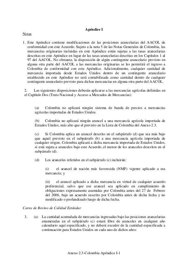 Apéndice I Notas 1. Este Apéndice contiene modificaciones de las posiciones arancelarias del AACOL de conformidad con este...