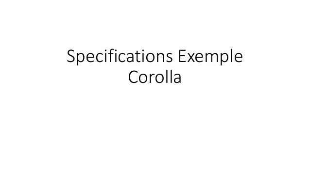 Specifications Exemple Corolla