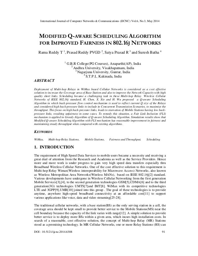 Modified q aware scheduling algorithm for improved fairness in 802.16 j networks