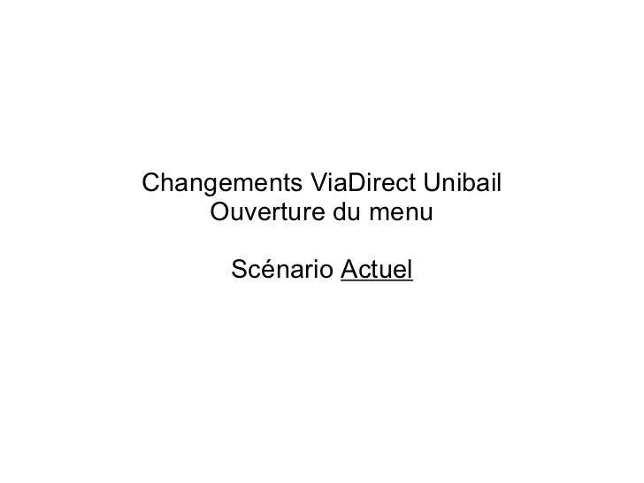 Changements ViaDirect Unibail Ouverture du menu Scénario  Actuel