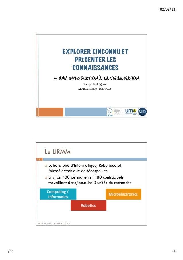 02/05/13 /35  1 EXPLORER LINCONNU ETPRÉSENTER LESCONNAISSANCESNancy RodriguezModule Image - Mai 2013!- UNE INTRODUCT...