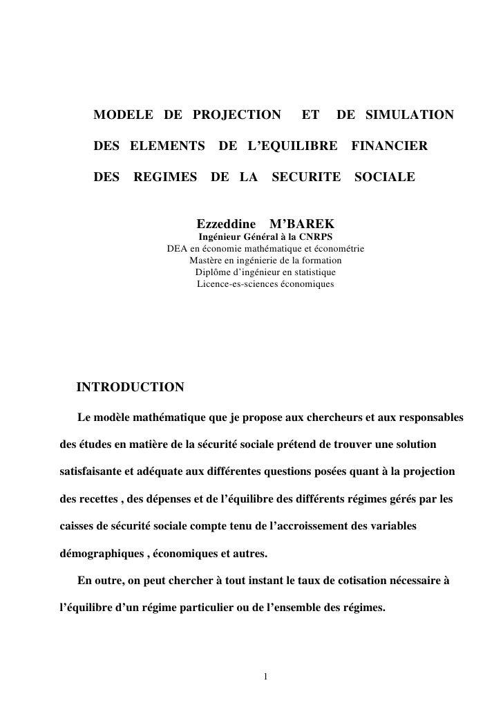 MODELE DE PROJECTION                        ET     DE SIMULATION         DES ELEMENTS              DE L'EQUILIBRE         ...