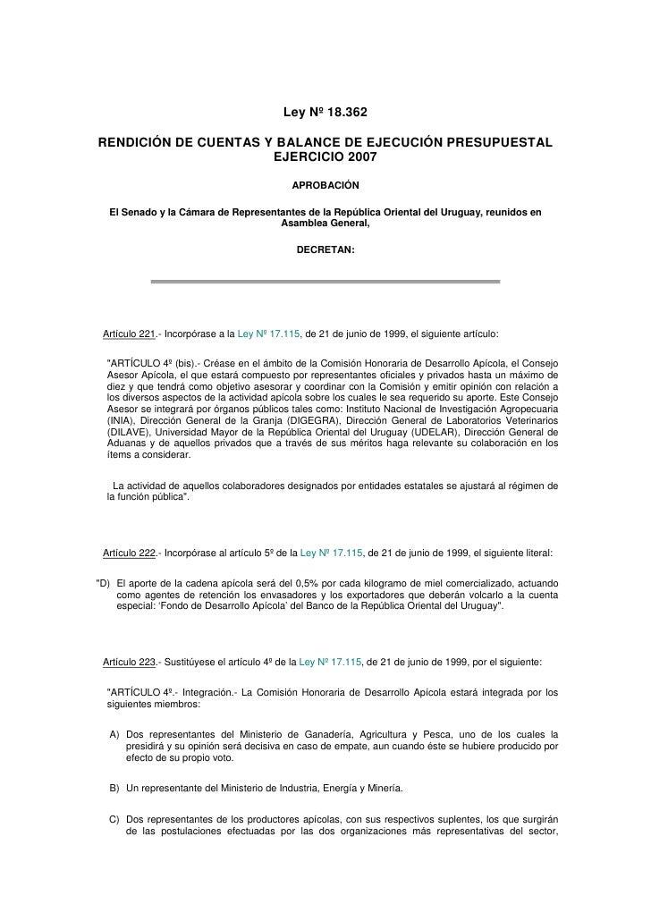 Ley Nº 18.362  RENDICIÓN DE CUENTAS Y BALANCE DE EJECUCIÓN PRESUPUESTAL                       EJERCICIO 2007              ...