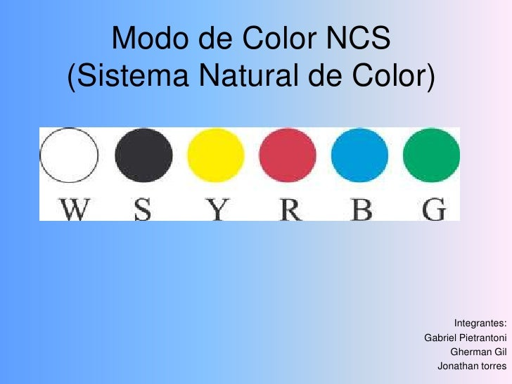 Modo de Color NCS(Sistema Natural de Color)<br />Integrantes:<br />Gabriel Pietrantoni<br />Gherman Gil<br />Jonathan torr...