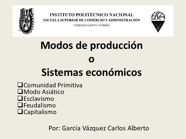 Modos de producción                 o       Sistemas económicosComunidad PrimitivaModo AsiáticoEsclavismoFeudalismoCa...