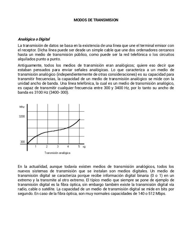 MODOS DE TRANSMISIONAnalógica o DigitalLa transmisión de datos se basa en la existencia de una línea que une el terminal e...