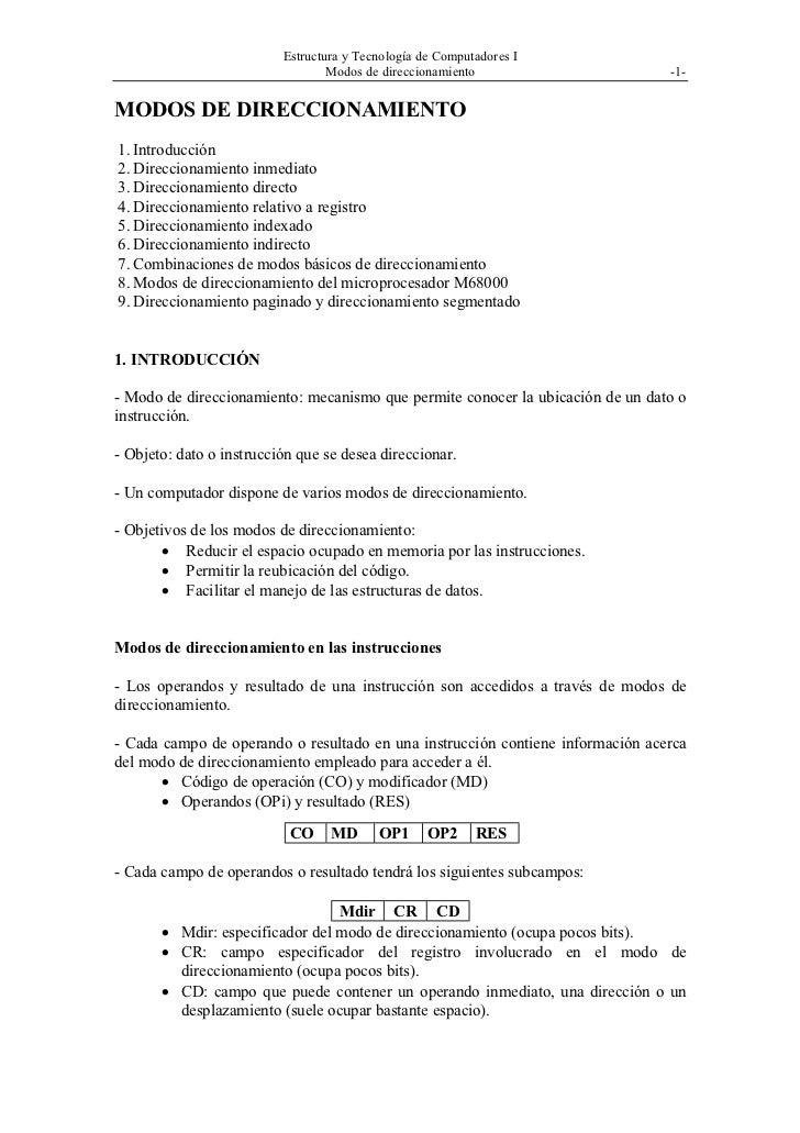 Estructura y Tecnología de Computadores I                                  Modos de direccionamiento                     -...