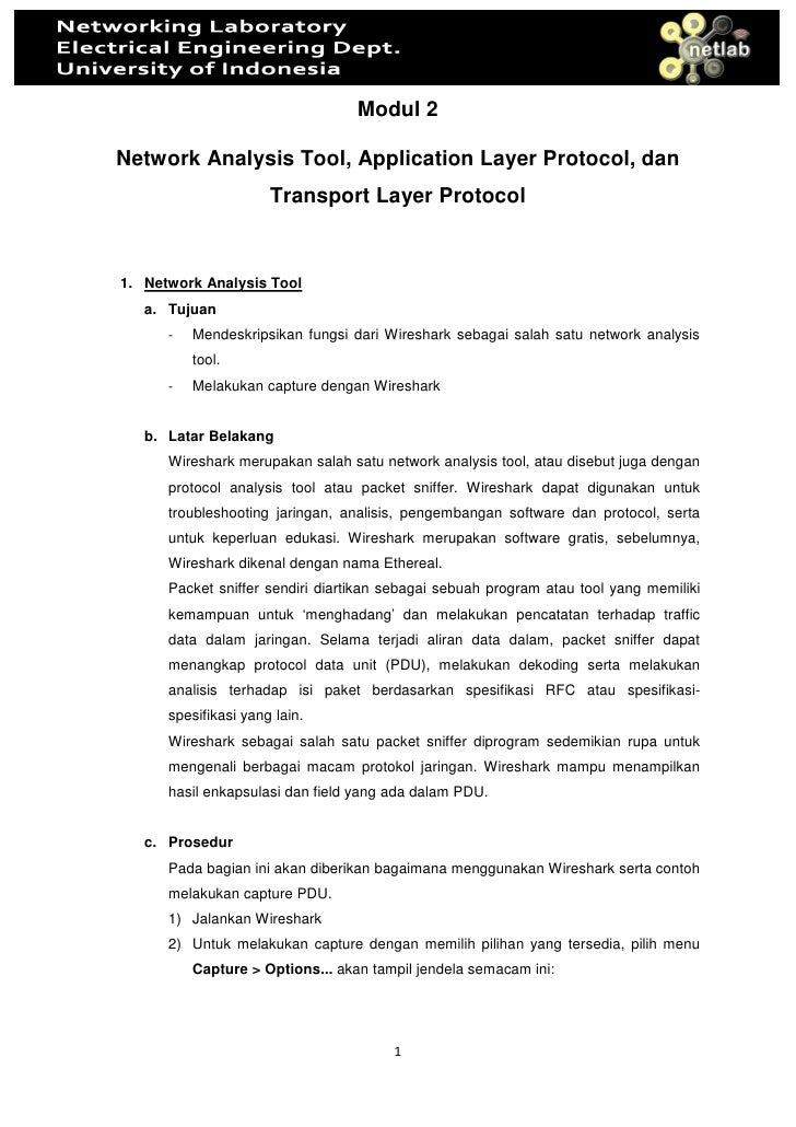 Modul 2  Network Analysis Tool, Application Layer Protocol, dan                       Transport Layer Protocol   1. Networ...