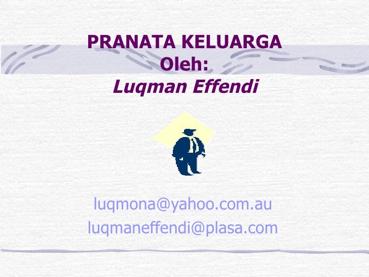 PRANATA KELUARGA Oleh: Luqman Effendi luqmona @yahoo.com.au [email_address]