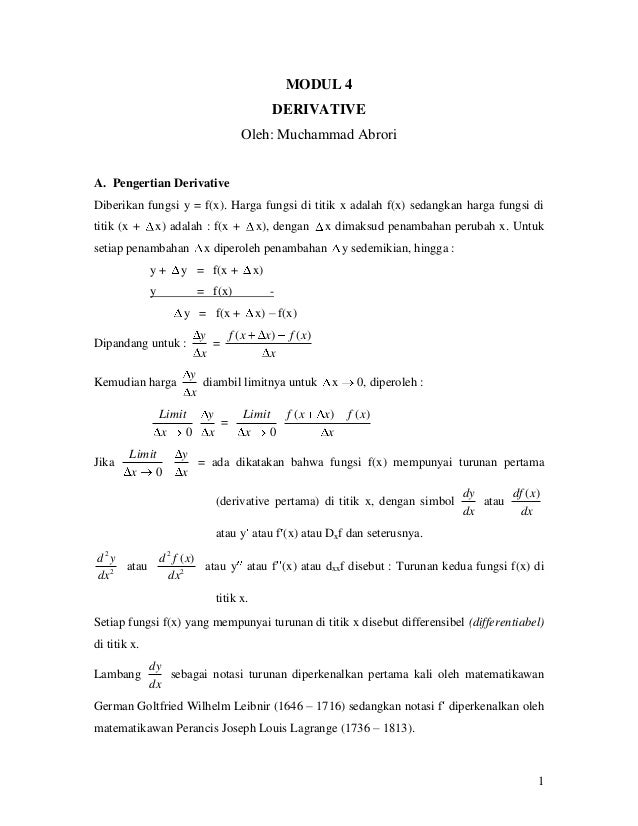 MODUL 4                                               DERIVATIVE                                    Oleh: Muchammad Abrori...