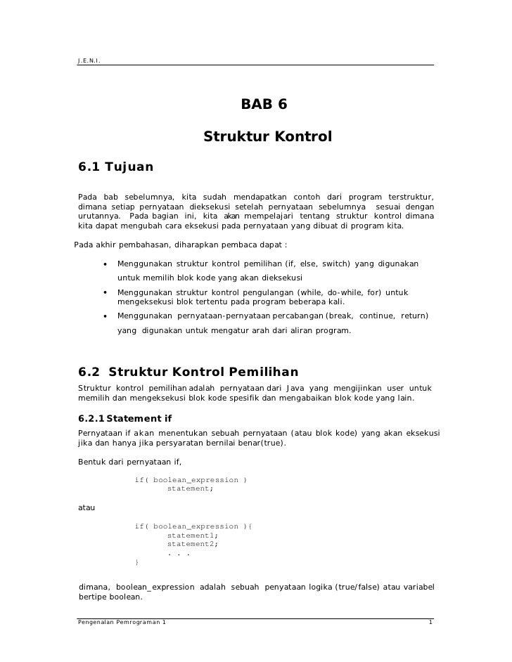 J.E.N.I.                                                 BAB 6                                     Struktur Kontrol  6.1 T...