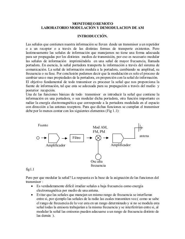 MONITOREO REMOTO LABORATORIO MODULACIÓN Y DEMODULACION DE AM INTRODUCCIÓN. Las señales que contienen nuestra información s...