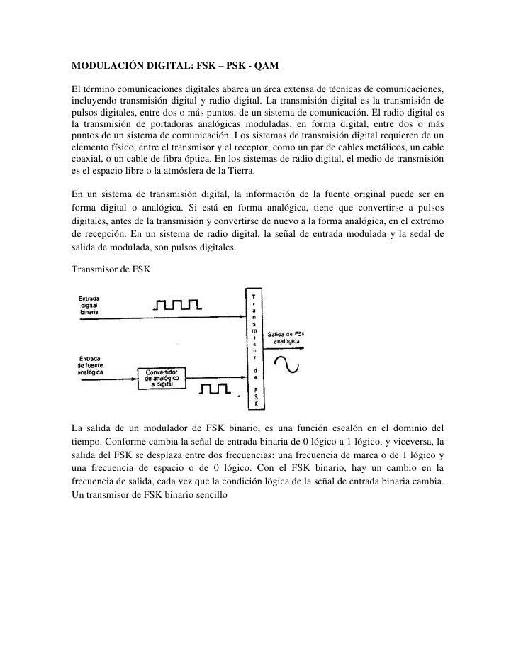 MODULACIÓN DIGITAL: FSK – PSK - QAM<br />El término comunicaciones digitales abarca un área extensa de técnicas de comunic...