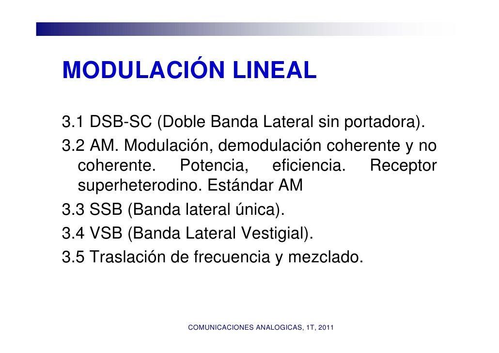 MODULACIÓN LINEAL3.1 DSB-SC (Doble Banda Lateral sin portadora).3.2 AM. Modulación, demodulación coherente y no  coherente...