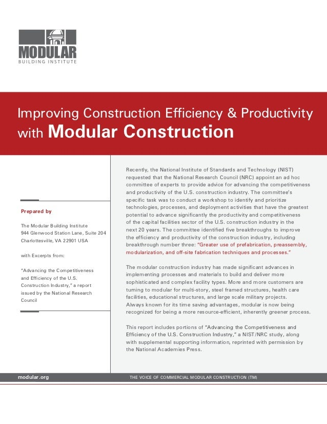 Modular building institute   improving construction efficiency & productivity with modular construction