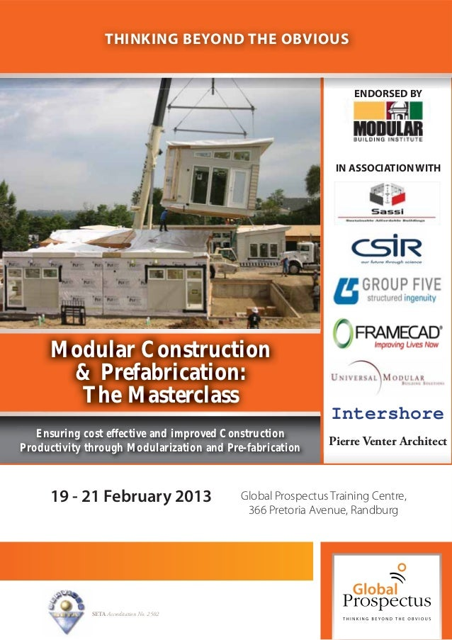 Modular Construction and Prefabrication: The Masterclass