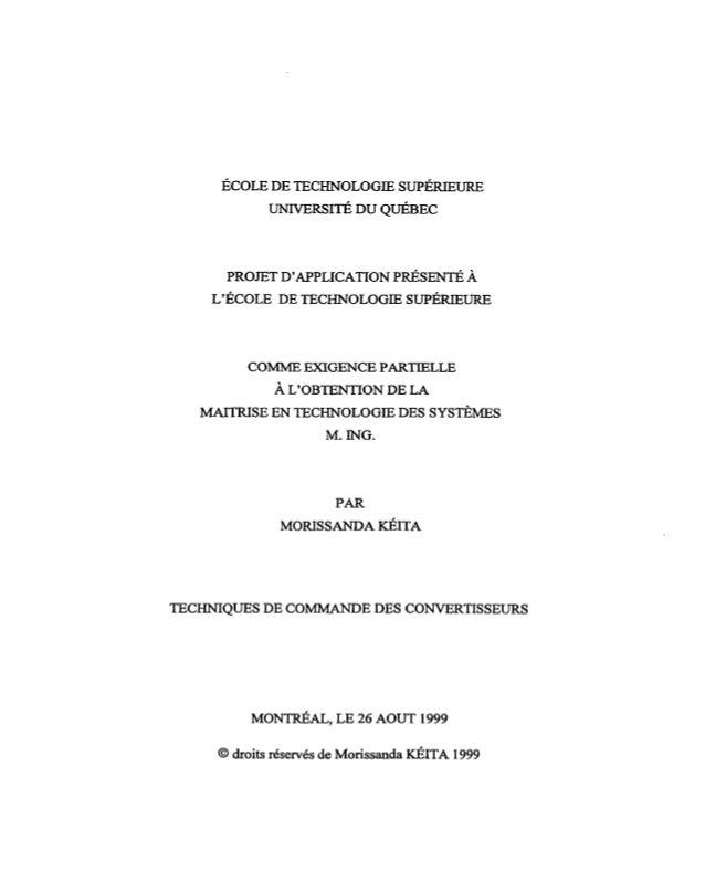 ÉCOLE DE TECHNOLOGIE SUPÉRIEURE            UNTVERSITÉ DU QUÉBEC      PROJET DAPPLICATION PRÉsENTÉÀ    LÉCOLE DE TECHNOLOGI...