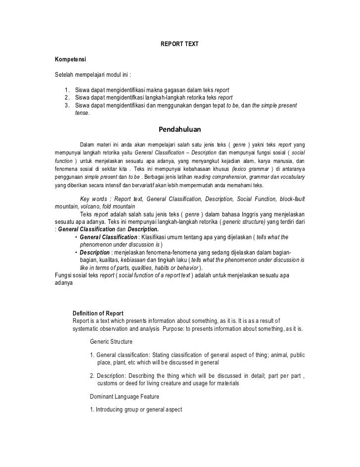 REPORT TEXTKompetensiSetelah mempelajari modul ini :    1. Siswa dapat mengidentifikasi makna gagasan dalam teks report   ...