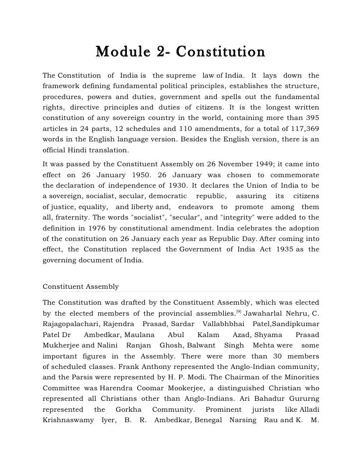 Module 2- ConstitutionThe Constitution of India is the supreme law of India. It lays down theframework defining fundamenta...