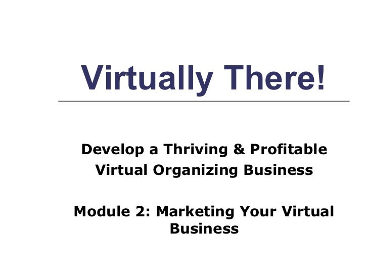 Virtually There! Develop a Thriving & Profitable Virtual Organizing Business   Module 2: Marketing Your Virtual Business