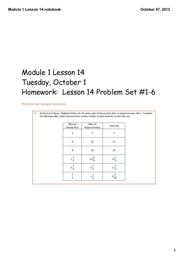 Module 1 Lesson 14.notebook 1 October 07, 2013 Module 1 Lesson 14 Tuesday, October 1 Homework: Lesson 14 Problem Set #1-6