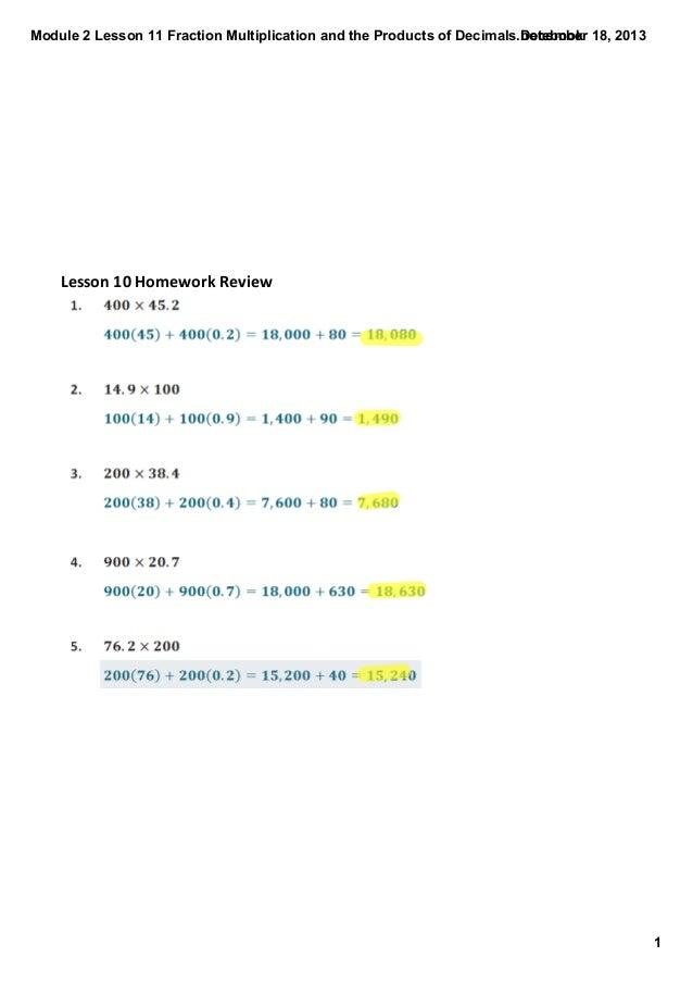 Module2Lesson11FractionMultiplicationandtheProductsofDecimals.notebook December18,2013  Lesson10HomeworkRev...