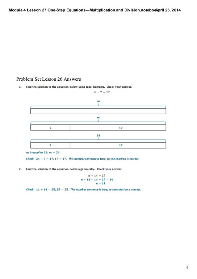 Module4Lesson27OneStepEquations―MultiplicationandDivision.notebook 1 April25,2014 ProblemSetLesson26Answers