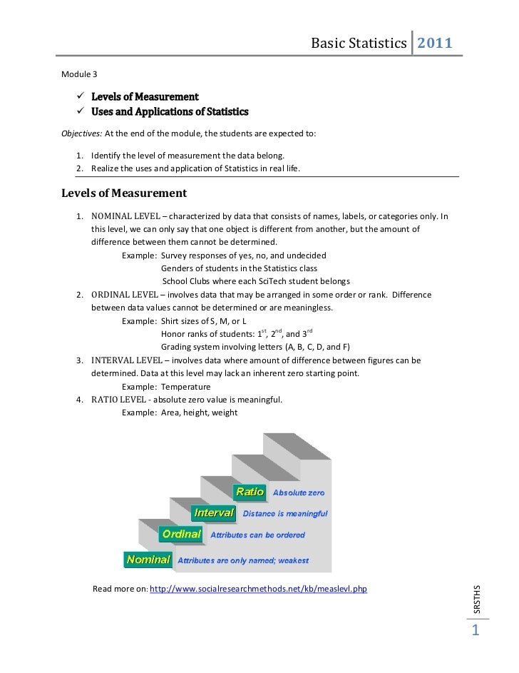Basic Statistics 2011Module 3     Levels of Measurement     Uses and Applications of StatisticsObjectives: At the end of...