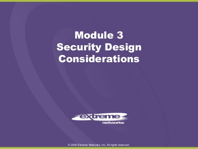 Security Design Considerations Module 3 - Training Sample