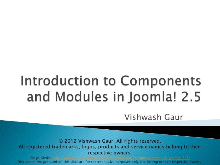 Modules and Components Introduction in Joomla! 2.5